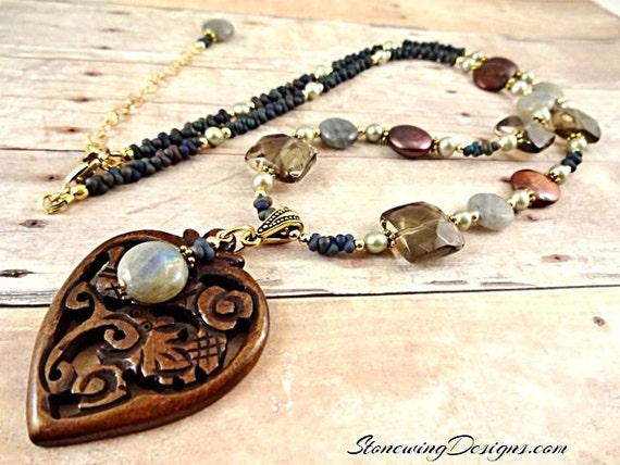 Smokey Quartz, Carved Wood Heart, Coin Pearls and Labradorite Necklace
