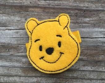 Yellow Honey Bear Felt Machine Embroidered Hair Clippie Clip Babies Toddlers Girls
