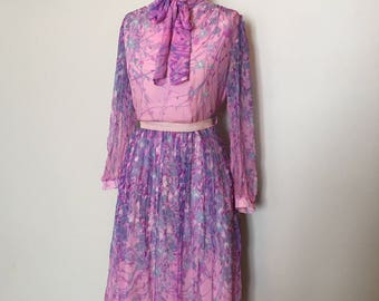 Vintage 70s Lilac Pink Purple Chiffon Dress