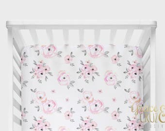 Fitted Crib Sheet - Gorgeous Pink Watercolor Floral // Pink + Grey + Coral + Blush
