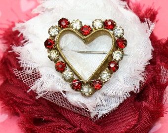 Exquisite Antique Brass and Rhinestone Heart Pin