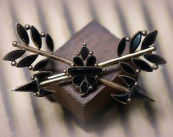 Antique Jet Black Brass Arrow Brooch Pin