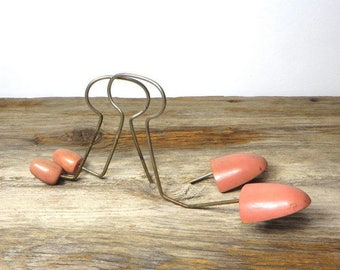 Vintage Pink Shoe Stretchers Mid Century 1950s Womens Wood and Metal Shoe Stretchers Cottage Chic Decor