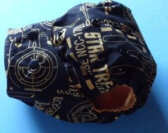 SassyCloth one size pocket diaper with star trek cotton print. Ready to ship.