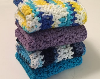 4 Large dish cloths/ dish rags/ wash cloths made with 100% cotton yarn