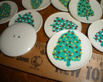 """Vintage Casein Buttons Hand Painted Christmas Trees 1 1/2"""" (38MM size 60L) 2-hole sew on rustic Green pink red white yellow mixed OOAK"""