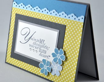 Thinking of You Card, Greeting Card, Get Well Soon, Sympathy, Thinking of You, All Occasion, Flowers, Patterns, Blue, Yellow, Blank Inside