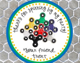 Fidget Spinner Favor Tag (Or Stickers)