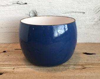 Dansk enamelware heavy bowl. Blue enamel bowl.