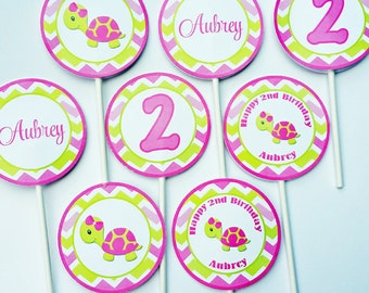 Turtle Girl Cupcake Toppers Small Party Circles Printable - Cupcake Topppers, Favor Tags - One Special Collection