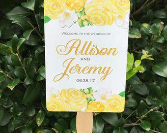 Wedding Fans Personalized Printable or Printed with FREE Shipping - Yellow Rose Floral Collection