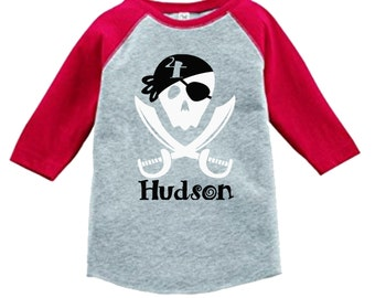 Pirate Birthday Shirt - 3/4 or long sleeve relaxed fit raglan baseball shirt - Any age and name - pick your colors!