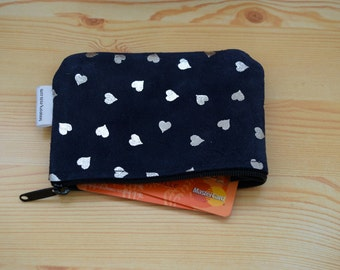 Leather coin purse,coin purse,change purse,hearts purse,leather wallet,zippered coin purse,zippered pouch,leather pouch,suede purse,hearts