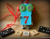 50% OFF - Robot Ornament - Lucky Number 7 Bot - Upcycled Ornament - Hanging Decor by Jen Hardwick