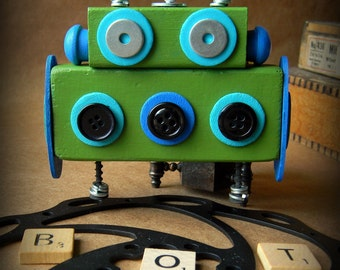 Robot Ornament - Blue & Green (Buttons) Bot - Upcycled Ornament - Hanging Decor by Jen Hardwick