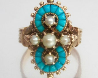 SOLD- Antique Victorian Turquoise and Pearl Rose Gold Ring 14K