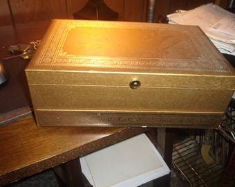 vintage jewelry box gold satin velvet lined automatic open drawer mele