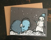 Turtle and Snowman Holiday Greeting Card, Screen printed Christmas Card, Cute Christmas Card, Turtle Christmas Card