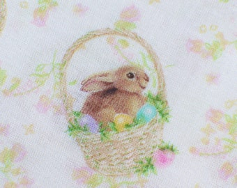 Easter Fabric, Easter Bunnies, Bunnies in Baskets, Bunnies and Flowers, Bunny Fabric,  By the Yard, Cotton Fabric