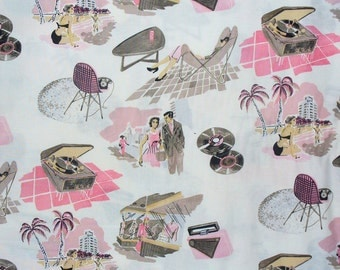 Vinyl Vacation, Alexander Henry,  Mod Fabric, 1950s Retro Fabric, 1950s Scenes, Pink Taupe Gray, By the Yard, Cotton Fabric