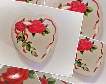 Med-Large Vintage Valentine Ceramic Trinket Box with Lid Hand Painted Floral Theme with Red Ribbon