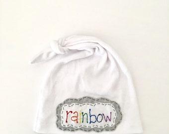 rainbow baby hat - knot beanie - newborn hat - hospital hat - gender neutral hat - baby name hat - rainbow - white hat - photo prop
