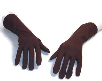60s Brown Gloves 3/4 Length Gloves Dark Brown Gloves 1960s Classic Gloves Three Quarter Gloves Brown Gloves Boxed Fingers Size 7 Gloves