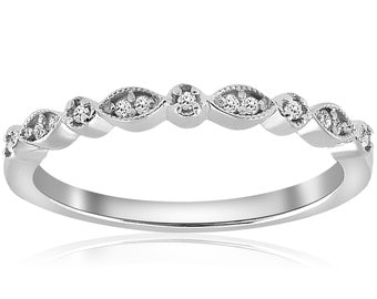 Diamond Wedding Ring Stackable Diamond Wedding Band Womens Anniversary Band 14 Karat White Gold Antique Hand Engraved Unique Ring