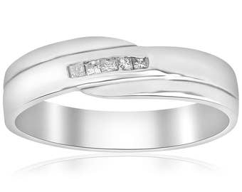 Mens Diamond Ring Princess Cut Diamond Wedding Ring White Gold High Polished Channel Set Mens Wedding Band Diamond Princess Square Cut Real