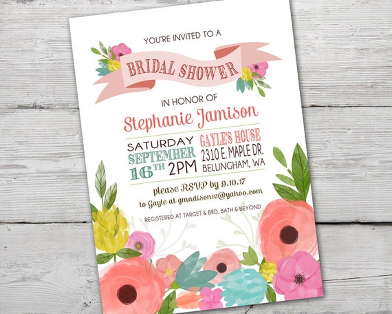 Watercolor flowers spring bridal shower invitation wedding shower il570xn filmwisefo