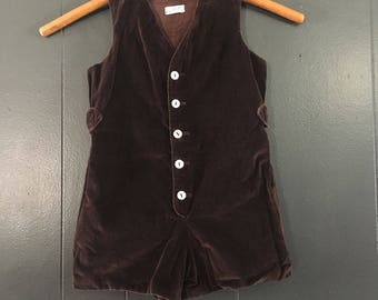 Vintage Saks Fifth Avenue Choclate Brown Velvet Playsuit