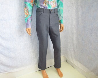 "70s 31"" x 32"" Lee Polyester Jeans Mens Flares PANTS Gray"