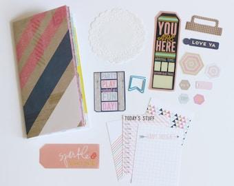 Midori Travelers Notebook Refill Insert Kit with Accessories Embellishments Scrapbook Junk Journal Mini Album Minibook