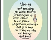 "Cleaning and Scrubbing personalized gift for new mom 5"" x 7"""
