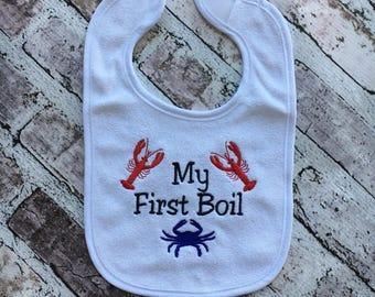 My First Seafood Boil Bib, First Crawfish Boil, First Crab Boil, Baby Bib,
