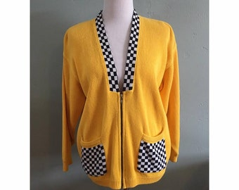Vintage Yellow and Checkered Zip Up Sweater