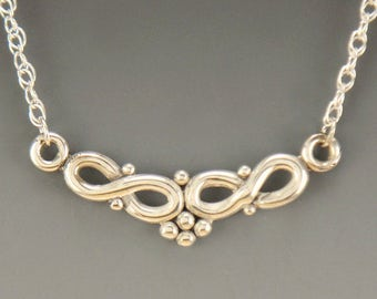P631- Sterling Silver Double Infinity Necklace- One of a Kind
