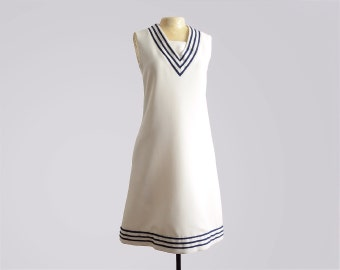 Vintage 60s Mod Nautical Shift Dress by T. Jones