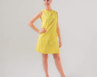 1960's Lilly Pulitzer Yellow Floral Shift Dress/ 60's Mod Spring Dress