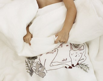 Toddler bedding, Linen bedding set, Kids bedding, Toddler duvet cover & pillowcase, Off white children bedding Sleeping fawns,  boy - girl