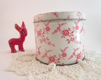 Vintage Roses Tin by The Swiss Colony Sweet Primitive Decor
