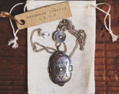 RVC-34, Vintage Fred Harvey ear inspired hand-stamped silver tone concho necklace