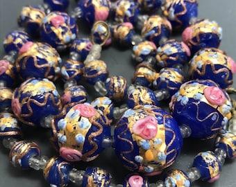 WEDDING CAKE  necklace. venetian beads.  lampwork beads . blue. murano. Antique beads. No.00645