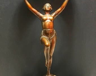 Antique Figural Lamp. Stained Glass Nude Lamp. Art Deco Bronze Finish   No.002044 cs