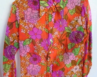 Women's Bright Floral Semi Sheer Polyester Blouse Button Down Shirt with Pointy Collar Size Small