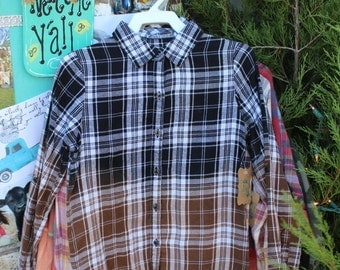 Size 7-8 Kids Black and Brown Distressed Flannel Shirt / Childs Bleached Flannel / Long Sleeve Plaid Flannel / Bleached, Grunge Flannel FF96
