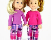 Pajamas 14 inch doll clothes, Flannel PJ's designed to fit dolls such as Wellie Wishers™, doll clothing pajama pants