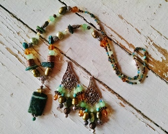 Yellow turquoise silver gypsy necklace chandelier earring set, turquoise, gold, pearl, copper necklace earring set