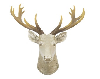 Mini Deer Head Wall Mount - Caramel Latte With Natural Antlers - Home Decor Wall Mount SD2500