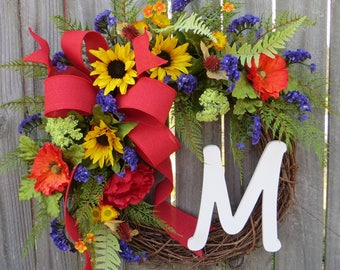 Door Wreath ,Summer Wreath,  Wreath for Spring, Wreath with Monogram, Wreath with Purple Yellow Red, Designer Etsy Wreath, Wreath